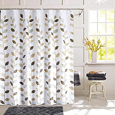 SHU UFANRO Shower Curtain Polyester Fabric Waterproof Shower Curtains for Bathroom Machine Washable - Fabric Shower Curtain: Made of durable polyester fabric with 12 plastic hooks, which is made to withstand moisture-rich bathroom environments. Waterproof: Water glides off and the curtain dries quickly. Small water beads form across the curtain, affording gentle water removal and swift curtain drying. Metal Grommets: This bathroom curtain features rust-resistant metal grommets along its reinforced top header. Keeps your curtain looking clean and fresh longer. - shower-curtains, bathroom-linens, bathroom - 51GYNqpq7JL. SS400  -