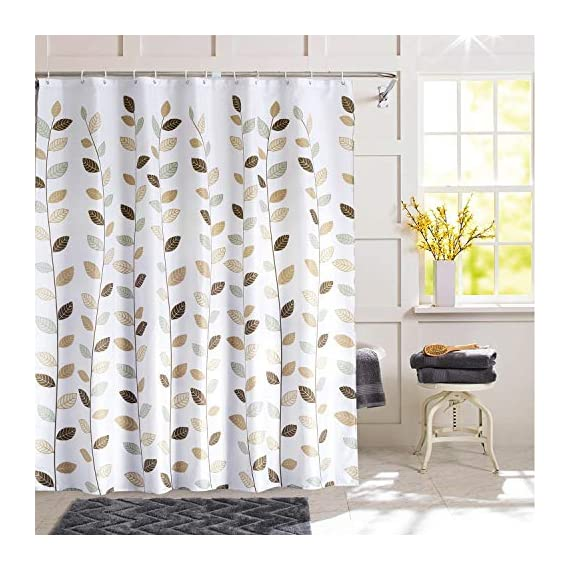 SHU UFANRO Shower Curtain Polyester Fabric Waterproof Shower Curtains for Bathroom Machine Washable - Fabric Shower Curtain: Made of durable polyester fabric with 12 plastic hooks, which is made to withstand moisture-rich bathroom environments. Waterproof: Water glides off and the curtain dries quickly. Small water beads form across the curtain, affording gentle water removal and swift curtain drying. Metal Grommets: This bathroom curtain features rust-resistant metal grommets along its reinforced top header. Keeps your curtain looking clean and fresh longer. - shower-curtains, bathroom-linens, bathroom - 51GYNqpq7JL. SS570  -