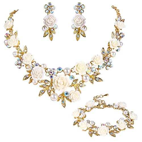 EVER FAITH Crystal Simulated Pearl Rose Flower Leaf Necklace Earrings Bracelet Set Iridescent Clear AB Gold-Tone