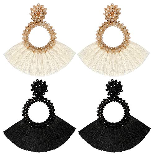 Bascolor 2 Pairs Beaded Tassel Earrings for Women Hoop Fringe Boho Lightweight Statement Drop Dangle Earrings for Lady Girls Jewelry,Cream&Black 2 Pair Hoop Earring