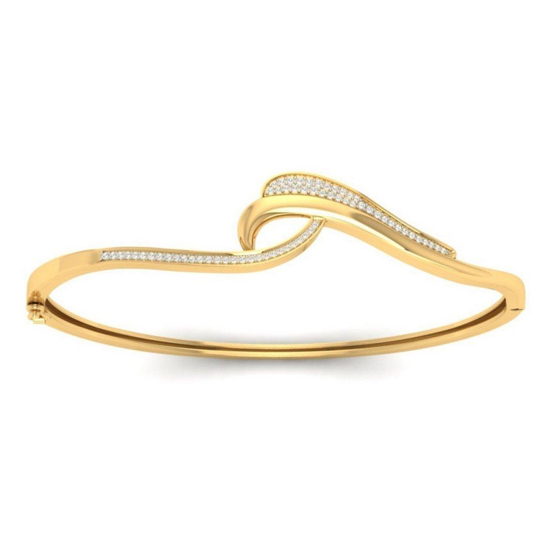 HallMarked 14K Yellow Gold bangle-bracelets Size IJ| SI 8 inches 1.2 cttw Round-Cut-Diamond
