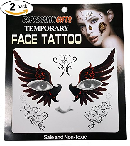 Angel Wings - 2 Pack Face Tattoos (Temporary Face Tattoos Halloween)