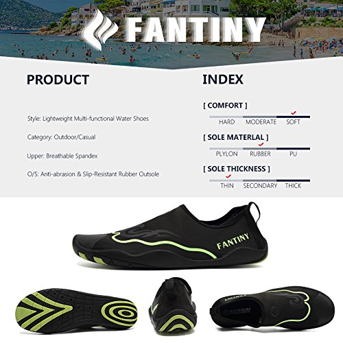 CIOR Men Women Kid's Barefoot Quick-Dry Water Sports Aqua Shoes With 14 Drainage Holes For Swim, Walking, Yoga, Lake, Beach, Garden, Park, Driving,DND012,1Black,44 5