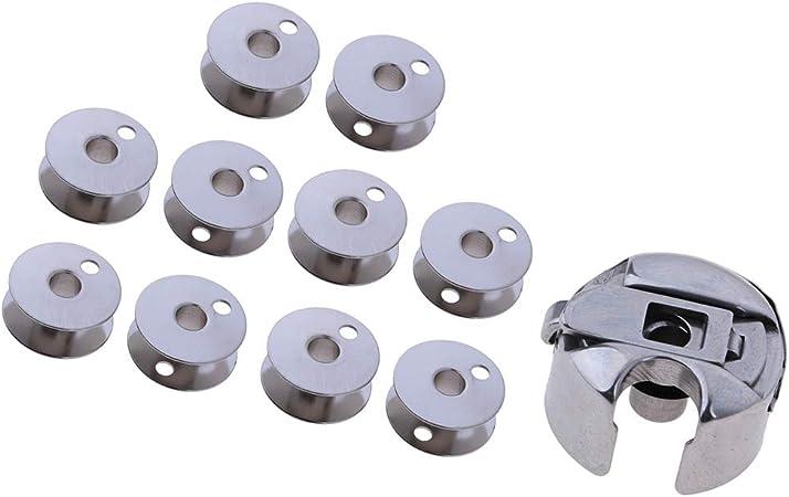 Flameer - 11 bobinas de metal para máquina de coser + cápsula de ...