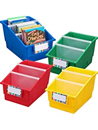 Really Good Stuff Large Plastic Labeled Book and Organizer Bin for Classroom or Home Use – Sturdy Plastic Book Bins in...