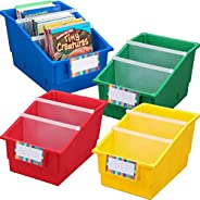 Really Good Stuff Large Plastic Labeled Book and Organizer Bin for Classroom or Home Use – Sturdy Plastic Book Bins in Fun Pr
