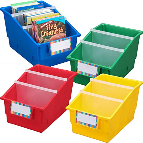 Really Good Stuff Large Plastic Labeled Book and Organizer Bin for Classroom or Home Use - Sturdy Plastic Book Bins in Fun Primary Colors - (Set of 4) -