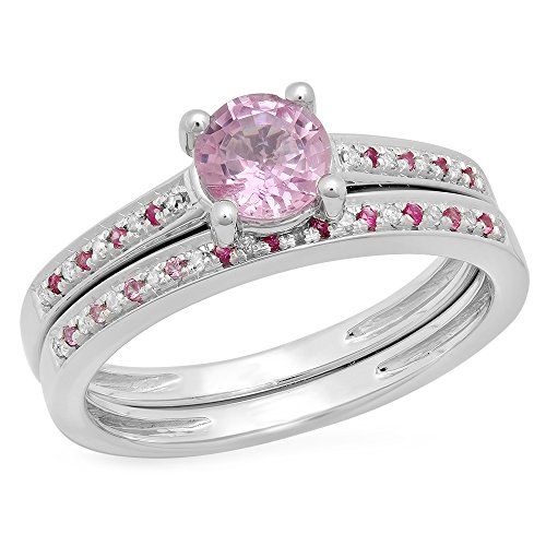 Gold Pink Sapphire Solitaire (10K White Gold Round Pink Sapphire & White Diamond Solitaire With Accent Engagement Ring Set (Size 5))