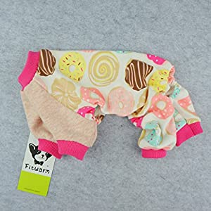 Fitwarm Sweetie Donuts Pet Clothes for Dog Pajamas Soft Cotton Shirts PJS, Pink, Large