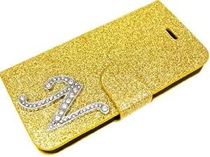 Exclusive - Funda para Samsung Galaxy S3 con cierre magnético, diseño de brillantes con letra N plateada, color dorado