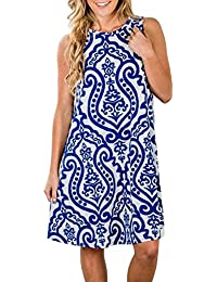 Women Summer Sleeveless Damask Print T-Shirt Dress with Pockets(FBA)