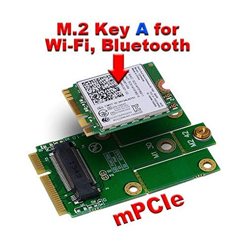 MicroStorage M.2 Key A to Mini PCIe Adapter M.2 (NGFF) to mPCIe (PCIe+USB), MSNX1031D (M.2 (NGFF) to mPCIe (PCIe+USB) Suitable for Intel 7260NGW with 802.11ac WiFi & Bluetooth 4.0 etc)