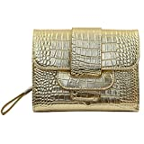 PU Vintage Style Wallet Purse Pouch Bag Card Holder Multifunctional, Golden