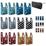 Reusable-Shopping-Bags-Grocery-Foldable-Totes 12 Pack Animal XLarge Bags with Elastic Zipper Bags Cute Gift Bags Machine Washable Lightweight Sturdy Elephant Hedgehog Cat Turtle Dogs Penguin ...