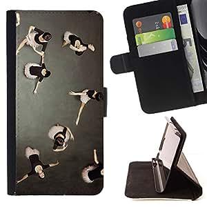 For Apple iPhone SE / iPhone 5 / iPhone 5S Case , Arte Ballet de la bailarina- la tarjeta de Crédito Slots PU Funda de cuero Monedero caso cubierta de piel