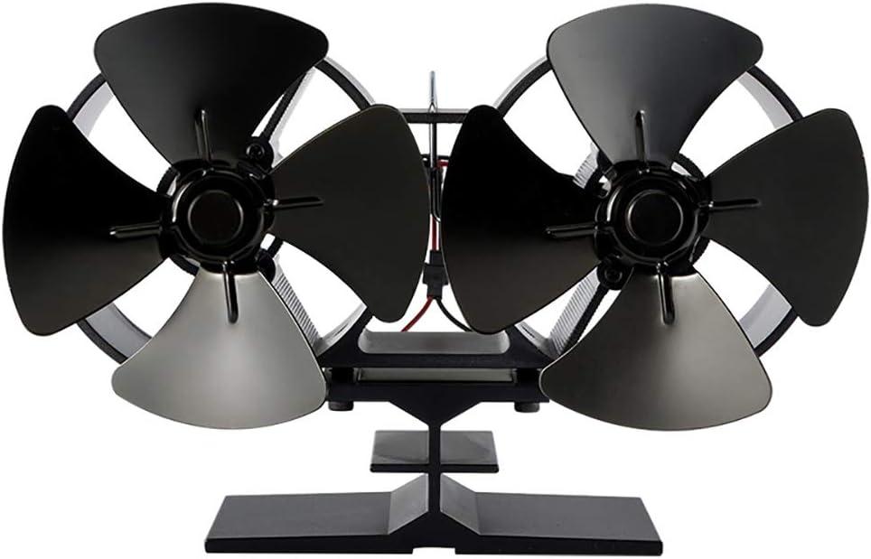 CX ECO Ventilador de Estufa de leña Quemador de leña Distribución de Calor Ventilador de Estufa accionado por Calor Ventilador de Chimenea para Ventilador de leña con 8 Cuchillas Motor Doble