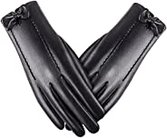 Women's Touchscreen Texting Gloves, Ulstar Winter Leather Driving Gloves Cashmere/Wool/Fleece Lining Windp