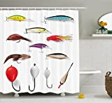 Fly Fishing Shower Curtain Ambesonne Fishing Decor Shower Curtain by, Netting Materials with Swivel Sinkers Fly Rods Floats Gaffs Recreational Pastime, Fabric Bathroom Decor Set with Hooks, 70 Inches, Multi