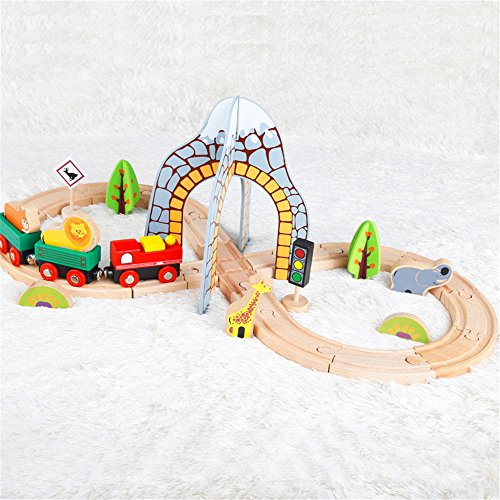 Zhenyu木製パズル建物スロットトラックレールTransit DiecastsおもちゃVehicles子供おもちゃWooden Train Toy Model Carsの商品画像