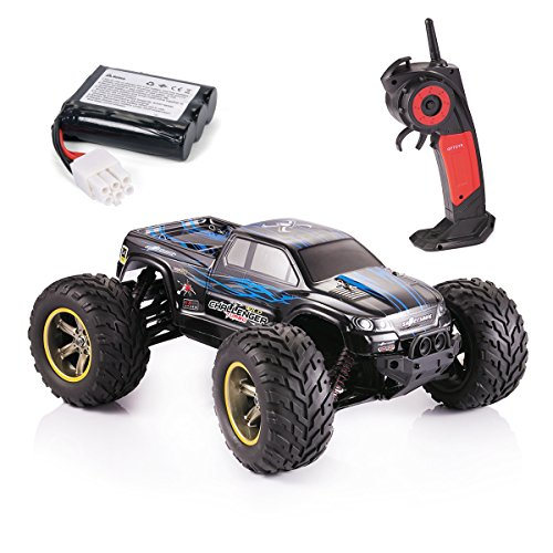 GPTOYS S911 RC Monster Truck 1/12 Scale Remote Control Car for Kids and Adults 2 – Wheel Driven Racing Truggy Waterproof 2.4GHz 2WD Electric Off Road Vehicle 42km/h High Speed, Blue