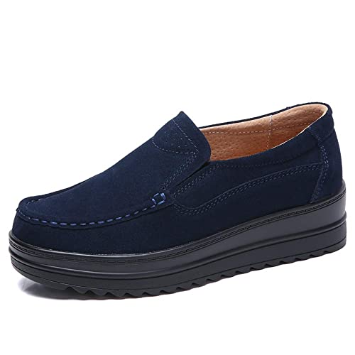 fd1da7bfd3f HKR DH8714shenlan35 Womens Wide Width Platform Shoes Comfortable Suede  Loafers Slip On Wedge Sneakers Navy Blue