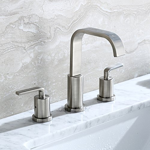 Decor Star WPC03-TB Contemporary Bathroom Vanity Sink Widespread Lavatory Faucet cUPC NSF AB 1953 Lead Free Brushed Nickel