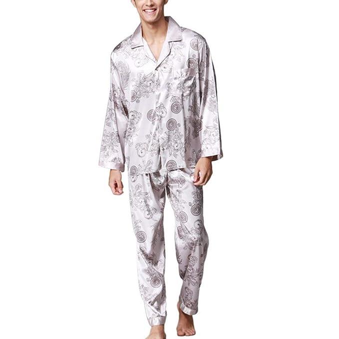 ... Otoño Floreadas Satín Conjunto Basic De Pijama Elegante Manga Larga V-Cuello Un Solo Pecho Batas Moda Hipster Ropa De Dormir Pantalones De Pijama Ropa: ...