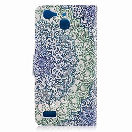 Yiizy Huawei Enjoy 5s / Huawei GR3 Custodia Cover, Di Fiore Verde Design Sottile Flip Portafoglio PU Pelle Cuoio Copertura Shell Case Slot Schede Cavalletto Stile Libro Bumper Protettivo Borsa