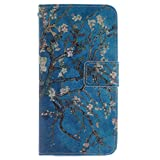 HTC M8 Case,HTC One M8 Wallet Case,Gift_Source Brand [Kickstand Feature] Luxury Wallet PU Leather Folio Wallet Flip Case Cover Built-in Card Slots for HTC One M8 Case(Almond Tree)