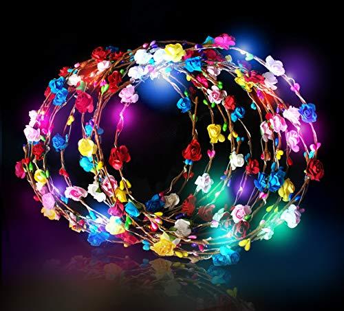 Festival Gear LED Flower Headband Wreath 12 PCS Light Up Crown