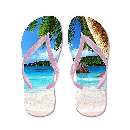 Cafepress Tropical Island - Chanclas, Sandalias De Tanga Graciosas, Sandalias De Playa Rosa