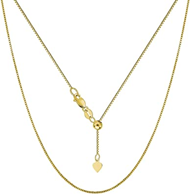 Real 14K Yellow Gold Love Pendant Charm Adjustable Rolo Chain Necklace Set Women