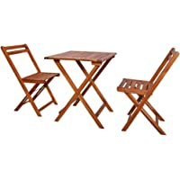vidaXL 3 Pieces Solid Acacia Wood Folding Bistro Set Weather Resistant 2 Chairs and 1 Table Garden Lounge Set Outdoor…