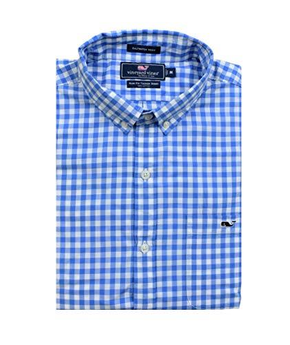 - Vineyard Vines Men's Slim Fit Whale Shirt Button Down Dress Shirt (Sea Park Gingham/Null Blue, X-Large)