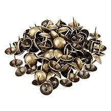Dophee 100Pcs 9mm Antique Brass Upholstery Nail Jewelry Gift Box Sofa Decorative Tack Stud