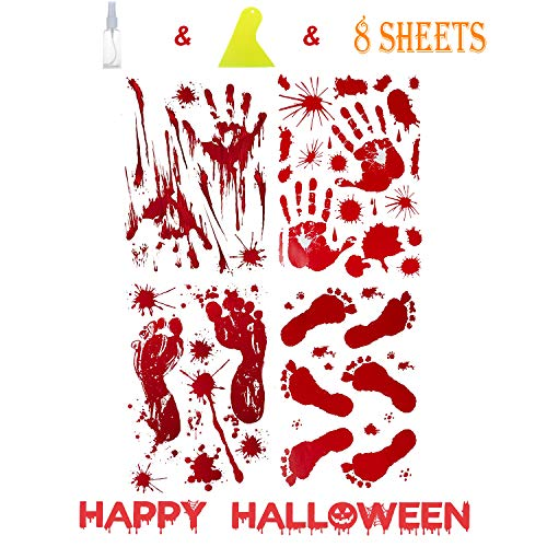 JBTAIN Halloween Decoration Bloody Handprint &Footprint Clings Decals, Horror Stickers with One Plastic Scraper & Plastic Bottle(8 Sheets) by JBTAIN