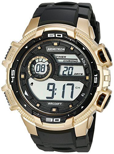 Armitron Sport Men's 40/8347BGD Gold-Tone Accented Digital Chronograph Matte Black Resin Strap Watch