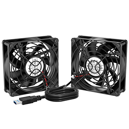 ELUTENG Dual USB Fan 80mm 2700RPM PS4 Cooling Fan 5V USB Ventilator Compatible with Computer/Laptop/Router/DVR/Xbox