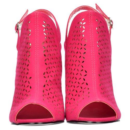 Ventilación Cut De Sling Sandalias Laser Salida Heel Con Back Peep Toe Mujeres Onlineshoe Señoras Fucsia Rosa Suede 8wvHqPf