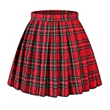 Girl`s Scottish tartan high Waist short Sex Skirts Costumes (M,Red Green Yellow)