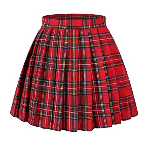 Girl`s School Plaid Slim christmas short Skirts Costumes(XS,Red Green Yellow)