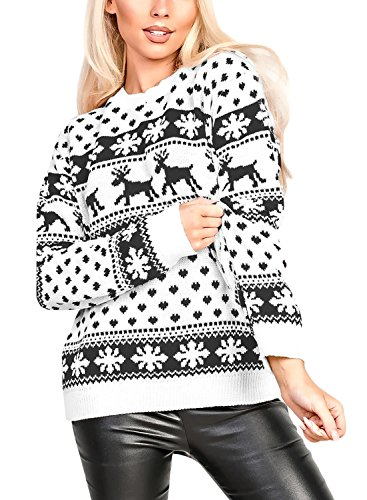 HOTAPEI Women's Ugly Christmas Reindeer Snowflakes Sweater Pullover