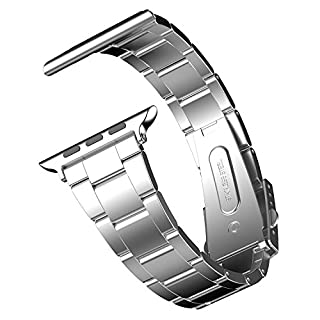 JETech Replacement Band for Apple Watch 42mm and 44mm Series 1 2 3 4 5, Stainless Steel, Silver