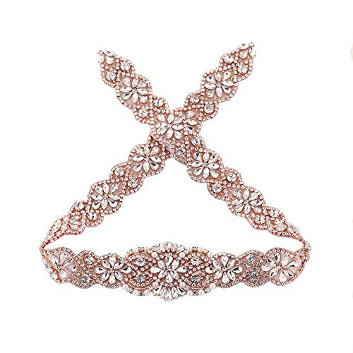 hinestone Appliques,Crystal Bridal Sash Rhinestone Belt Beaded Trim Patches Rose Gold Beads Ivory Pearls Diamante Decoration Embellishment for Dress Clothes Gown Bridesmaid ()