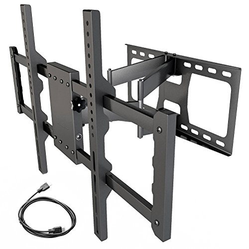 Sunyear WD50003-01 Full Motion TV Wall Mount Bracket with Dual Arm for TVs 15 Degree Tilt for LED, LCD, OLED and Plasma Flat Screen TVs