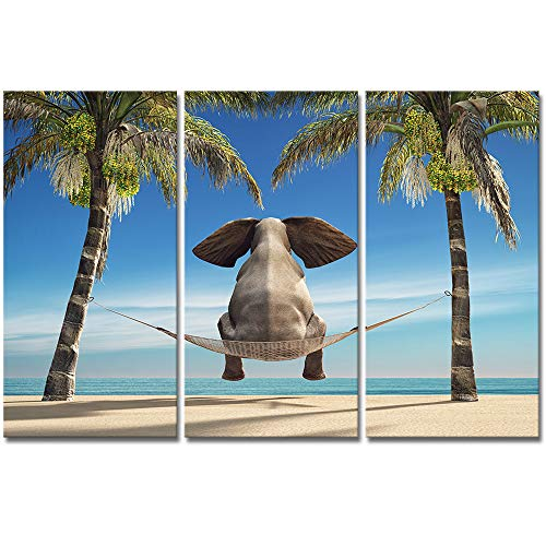 (VividHome Elephants Canvas Prints Wall Art Elephants Sit on Swings Watch Seascape Picture Print on Canvas for Home Decor Animals Painting Poster Framed and Stretched Ready to Hang 16x32inchx3pcs)