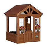 Brown Modern Wooden Kids Playhouse | Contemporary Spacious and Sturdy 4 Sided Wall Playhouse for your Children with Windows, Door, Flower Pot Holder and Kitchen Counter | Perfect for Outdoor or Indoor set up.