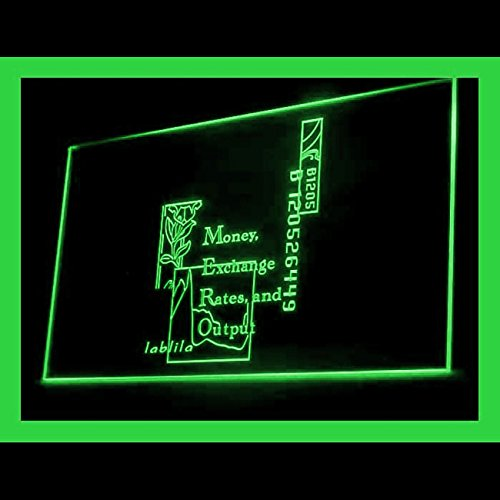 Money Exchange International Stock Agency Larges Accurate LED Light Sign 190132 Color Green by Easesign