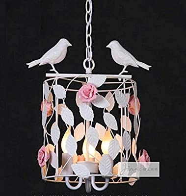 CHXDD Nordic style Garden flowers and birdcage chandelier Restaurant lighting Bedroom lamps Garden Pendant Lamp-3light