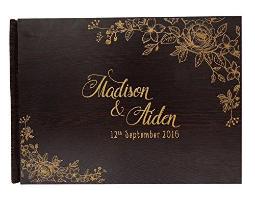 Book Guest Engraved (Personalised Name Engraved Wood Wedding Guestbook Bride & Groom Advice Book Rustic Wedding Guest Book - 50 Pages)